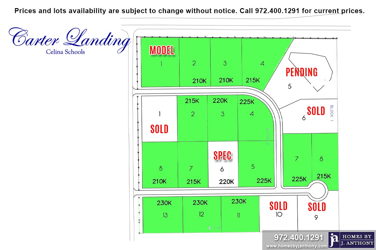 Lots For Sale Homes By J Anthony offers Premier lots for home construction in Celina, TX, Carter Landing Community